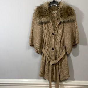 Ann Taylor LOFT Faux Fur Collared Knit Sweater